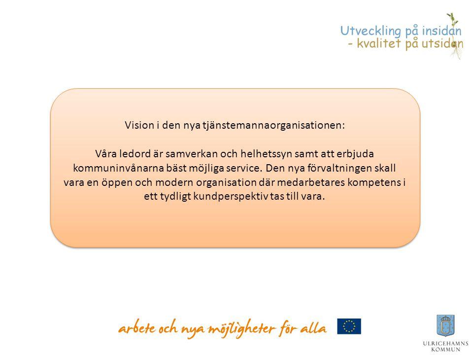 Vision i den nya tjänstemannaorganisationen: Våra ledord är samverkan och helhetssyn samt att erbjuda kommuninvånarna bäst möjliga service. Den nya fö