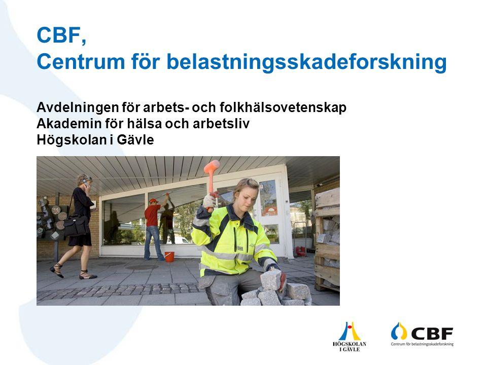 Avdelningen för arbets- och folkhälsovetenskap Akademin för hälsa och arbetsliv Högskolan i Gävle CBF, Centrum för belastningsskadeforskning