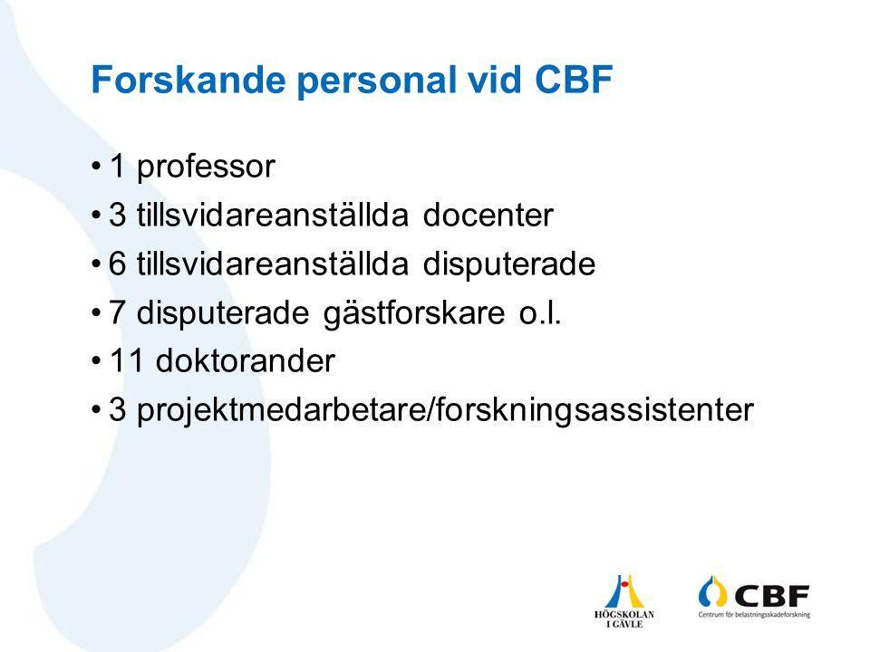 Forskande personal vid CBF •1 professor •3 tillsvidareanställda docenter •6 tillsvidareanställda disputerade •7 disputerade gästforskare o.l. •11 dokt