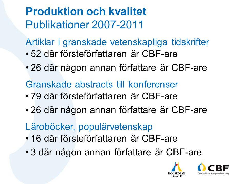Produktion och kvalitet Publikationer 2007-2011 •52 där försteförfattaren är CBF-are •26 där någon annan författare är CBF-are Artiklar i granskade ve