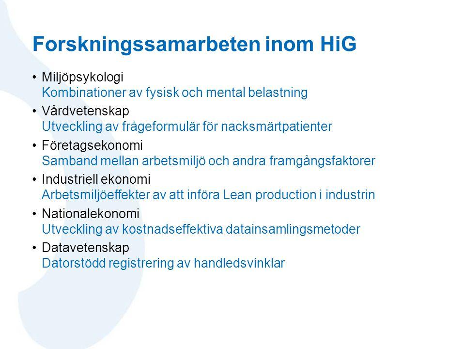 Forskningssamarbeten inom HiG •Miljöpsykologi Kombinationer av fysisk och mental belastning •Vårdvetenskap Utveckling av frågeformulär för nacksmärtpa