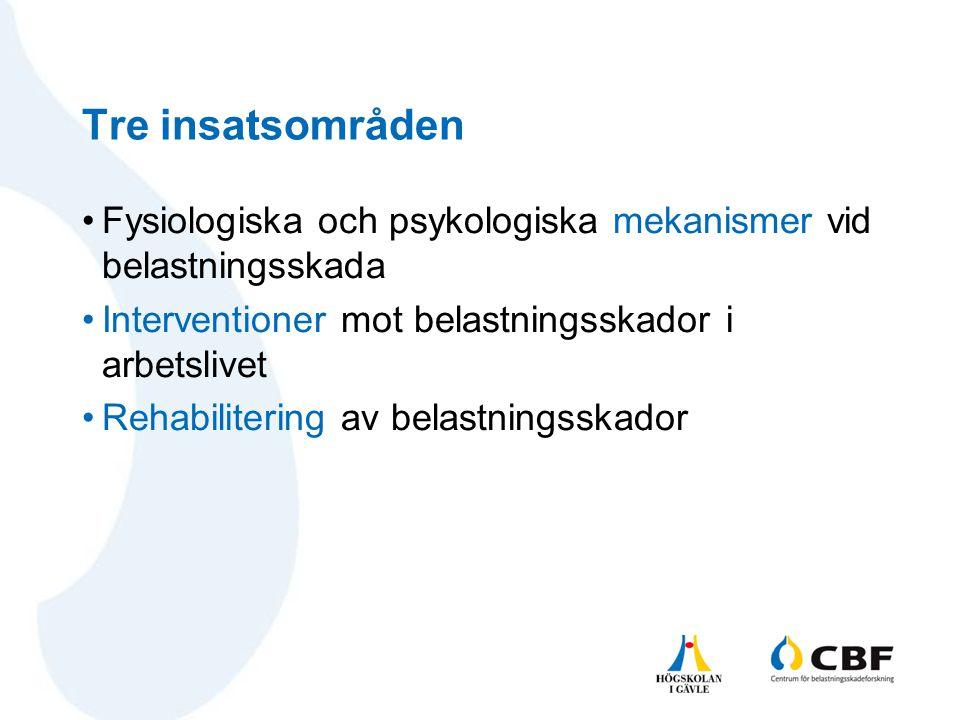 Tre insatsområden •Fysiologiska och psykologiska mekanismer vid belastningsskada •Interventioner mot belastningsskador i arbetslivet •Rehabilitering a