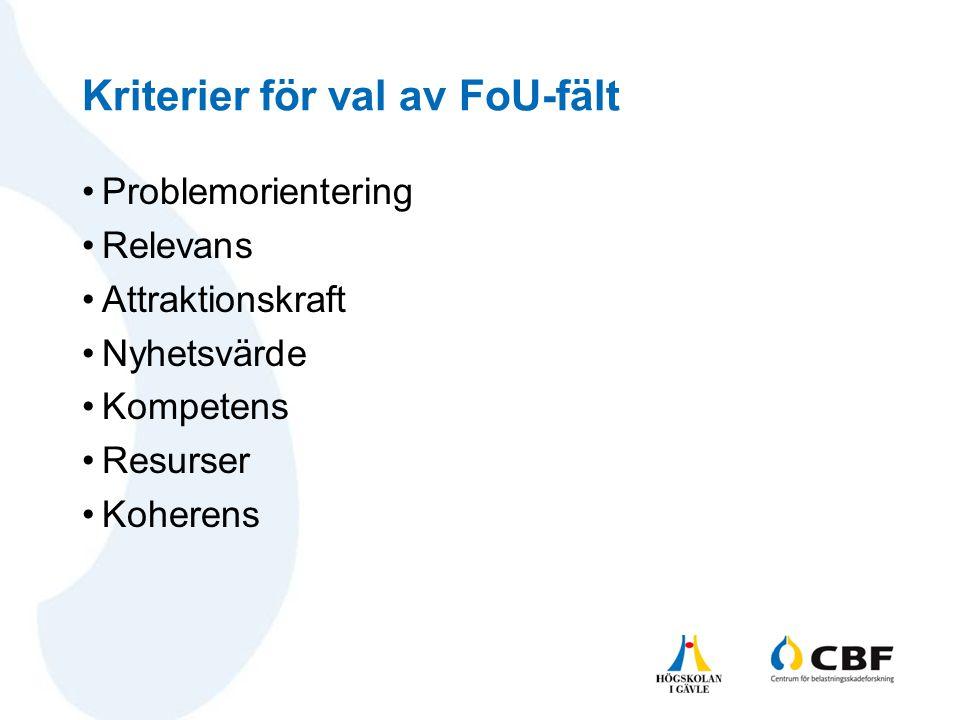 Kriterier för val av FoU-fält •Problemorientering •Relevans •Attraktionskraft •Nyhetsvärde •Kompetens •Resurser •Koherens