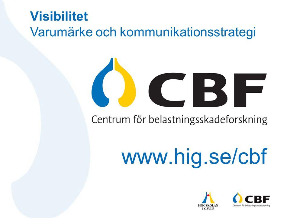 www.hig.se/cbf Visibilitet Varumärke och kommunikationsstrategi