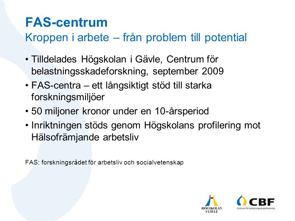 FAS-centrum Kroppen i arbete – från problem till potential •Tilldelades Högskolan i Gävle, Centrum för belastningsskadeforskning, september 2009 •FAS-