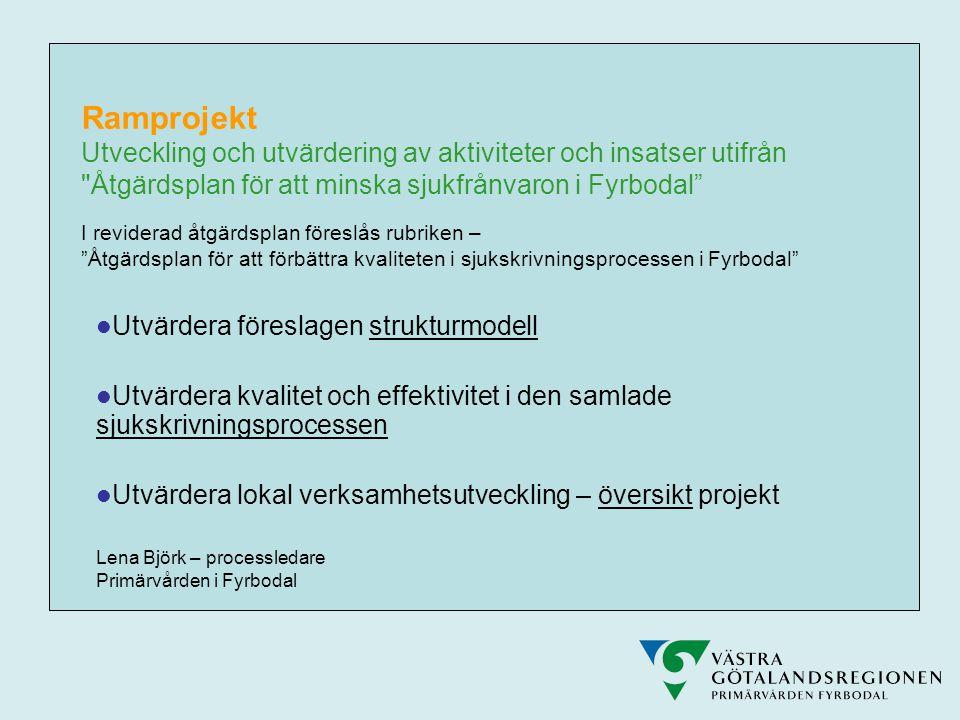Ramprojekt Utveckling och utvärdering av aktiviteter och insatser utifrån Åtgärdsplan för att minska sjukfrånvaron i Fyrbodal I reviderad åtgärdsplan föreslås rubriken – Åtgärdsplan för att förbättra kvaliteten i sjukskrivningsprocessen i Fyrbodal  Utvärdera föreslagen strukturmodell  Utvärdera kvalitet och effektivitet i den samlade sjukskrivningsprocessen  Utvärdera lokal verksamhetsutveckling – översikt projekt Lena Björk – processledare Primärvården i Fyrbodal
