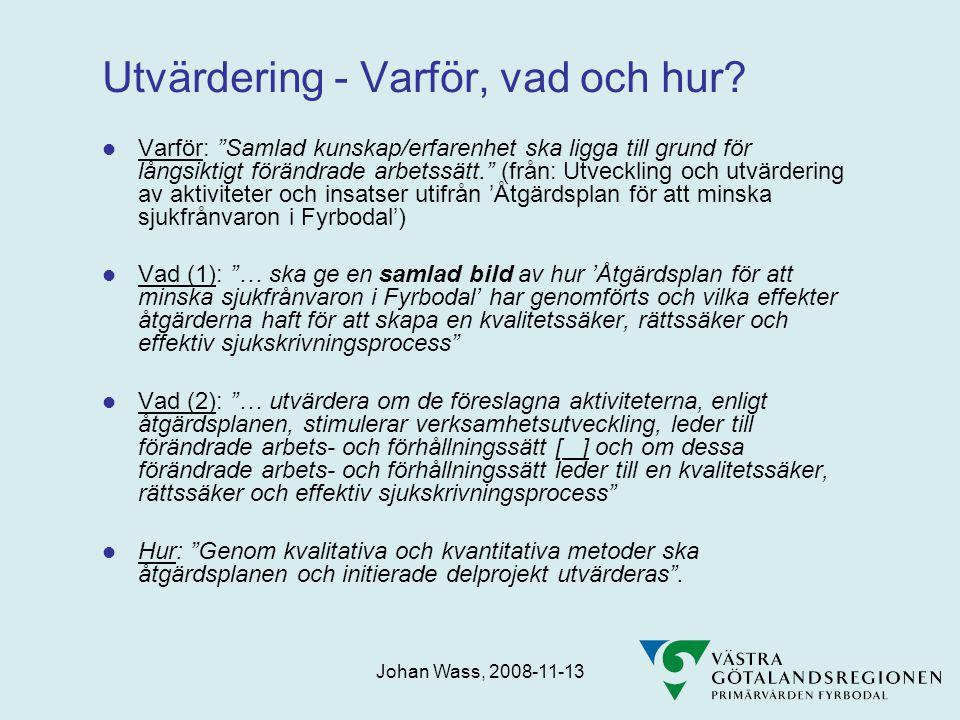 Johan Wass, 2008-11-13 Val av fokus i utvärderingen Utifrån den tredje punkten (Vad 2) på föregående sida utkristalliserar sig följande:  Utvärderingens fokus är på föreslagna aktiviteters (strukturmodellen) implementering och inverkan på utveckling och arbetssätt.