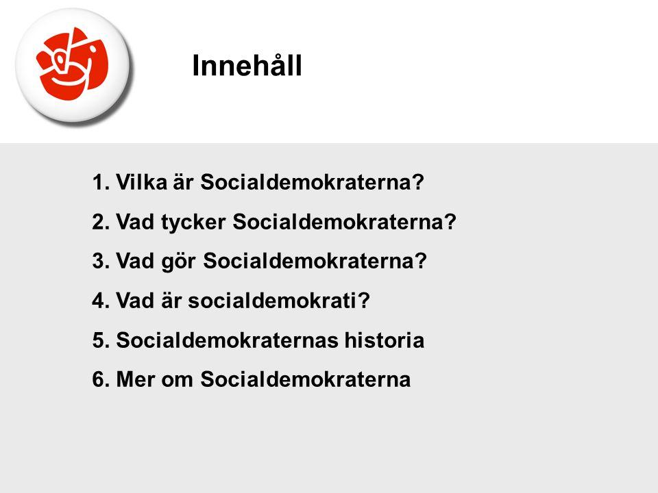 1. Vilka är Socialdemokraterna? 2. Vad tycker Socialdemokraterna? 3. Vad gör Socialdemokraterna? 4. Vad är socialdemokrati? 5. Socialdemokraternas his