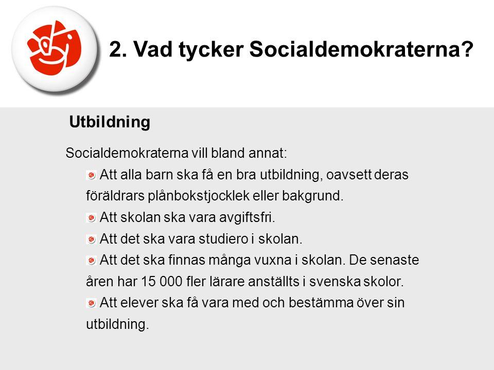 Socialdemokraterna vill bland annat: Att alla barn ska få en bra utbildning, oavsett deras föräldrars plånbokstjocklek eller bakgrund. Att skolan ska