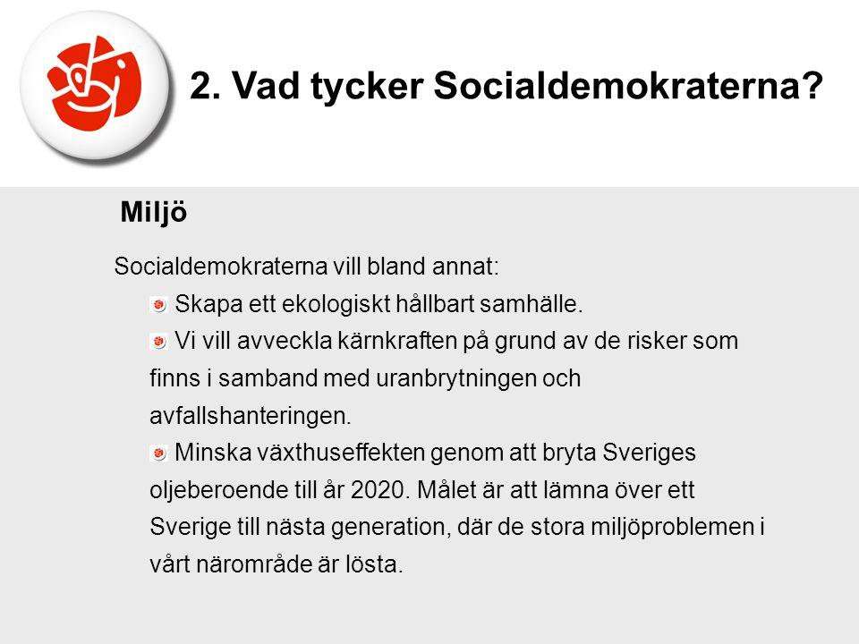 Socialdemokraterna vill bland annat: Skapa ett ekologiskt hållbart samhälle. Vi vill avveckla kärnkraften på grund av de risker som finns i samband me