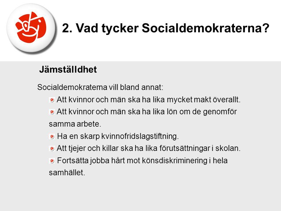 Socialdemokraterna vill bland annat: Att kvinnor och män ska ha lika mycket makt överallt. Att kvinnor och män ska ha lika lön om de genomför samma ar