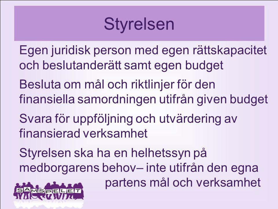Styrelsen Egen juridisk person med egen rättskapacitet och beslutanderätt samt egen budget Besluta om mål och riktlinjer för den finansiella samordnin