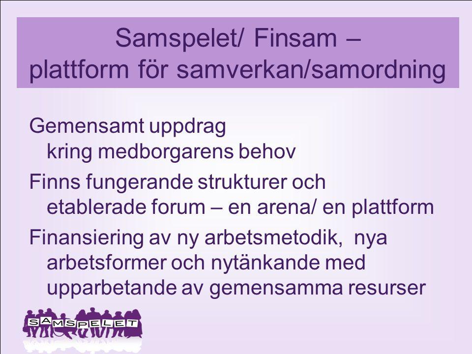 Samspelet/ Finsam – plattform för samverkan/samordning Gemensamt uppdrag kring medborgarens behov Finns fungerande strukturer och etablerade forum – e