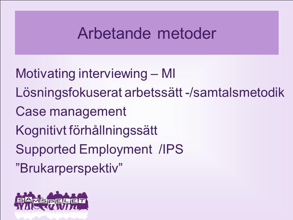 Arbetande metoder Motivating interviewing – MI Lösningsfokuserat arbetssätt -/samtalsmetodik Case management Kognitivt förhållningssätt Supported Empl