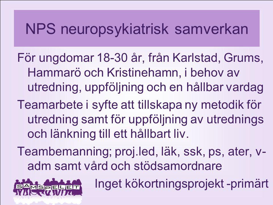 NPS neuropsykiatrisk samverkan För ungdomar 18-30 år, från Karlstad, Grums, Hammarö och Kristinehamn, i behov av utredning, uppföljning och en hållbar