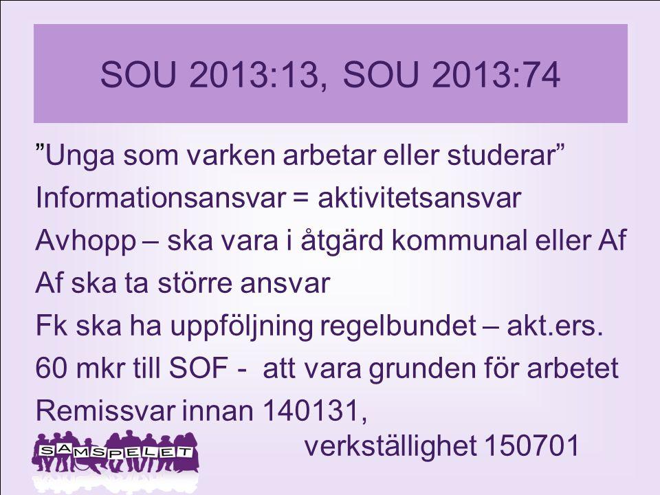 """SOU 2013:13, SOU 2013:74 """"Unga som varken arbetar eller studerar"""" Informationsansvar = aktivitetsansvar Avhopp – ska vara i åtgärd kommunal eller Af A"""