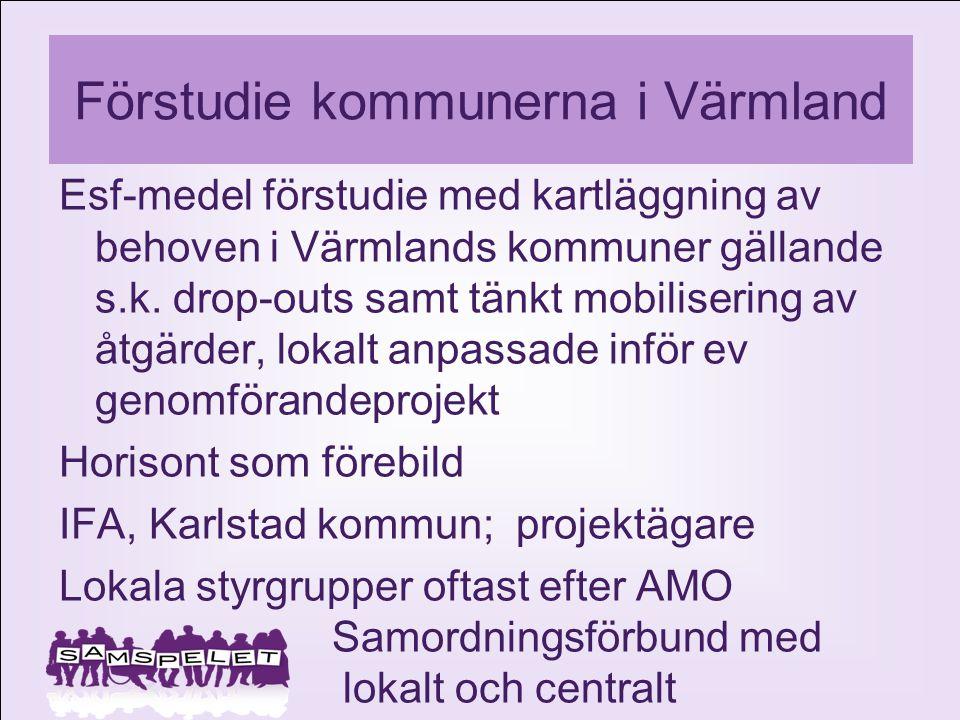 Förstudie kommunerna i Värmland Esf-medel förstudie med kartläggning av behoven i Värmlands kommuner gällande s.k. drop-outs samt tänkt mobilisering a