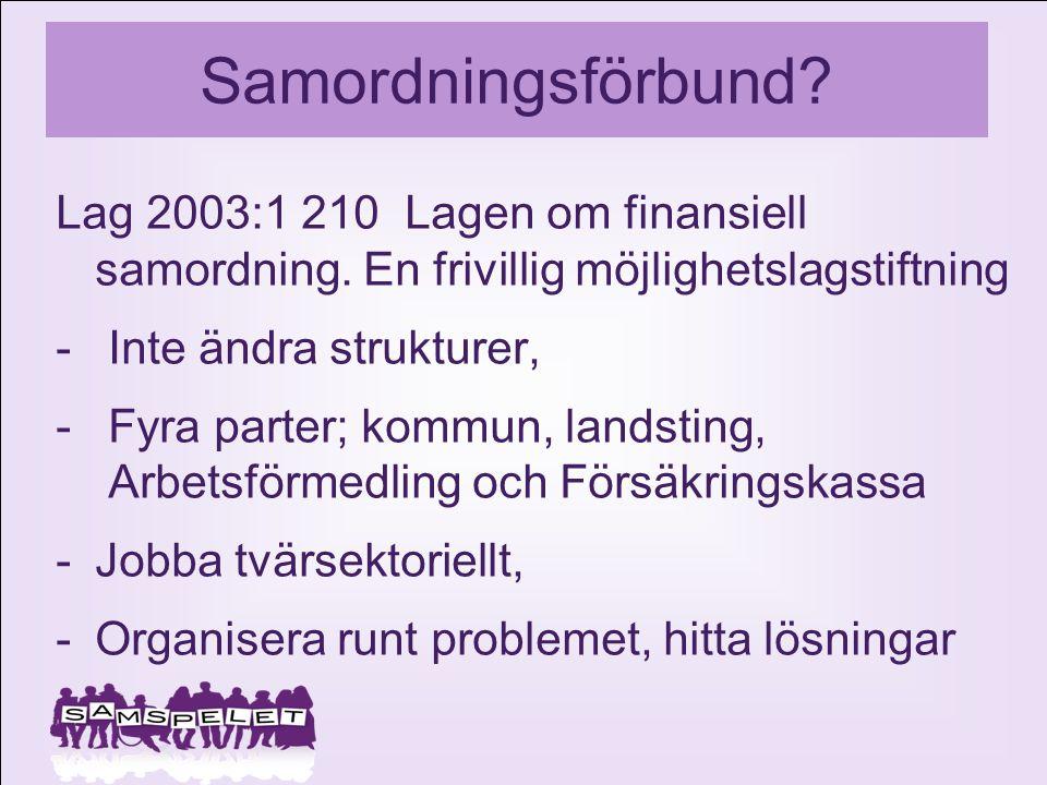 Samordningsförbund? Lag 2003:1 210 Lagen om finansiell samordning. En frivillig möjlighetslagstiftning -Inte ändra strukturer, -Fyra parter; kommun, l