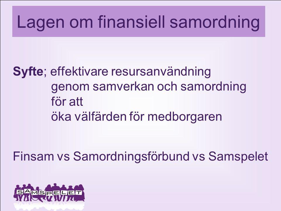 Lagen om finansiell samordning Syfte; effektivare resursanvändning genom samverkan och samordning för att öka välfärden för medborgaren Finsam vs Samo
