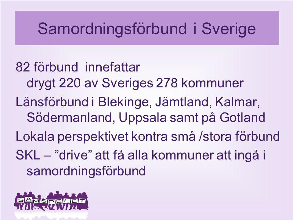 Samordningsförbund i Sverige 82 förbund innefattar drygt 220 av Sveriges 278 kommuner Länsförbund i Blekinge, Jämtland, Kalmar, Södermanland, Uppsala