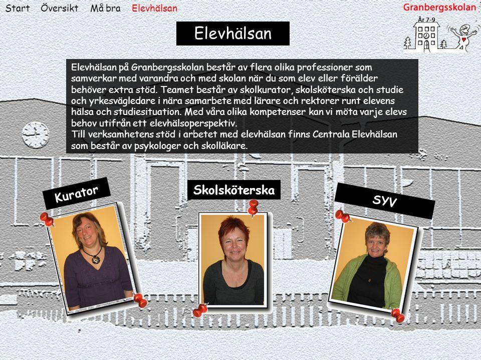 ÖversiktStart Elevhälsan Elevhälsan på Granbergsskolan består av flera olika professioner som samverkar med varandra och med skolan när du som elev el