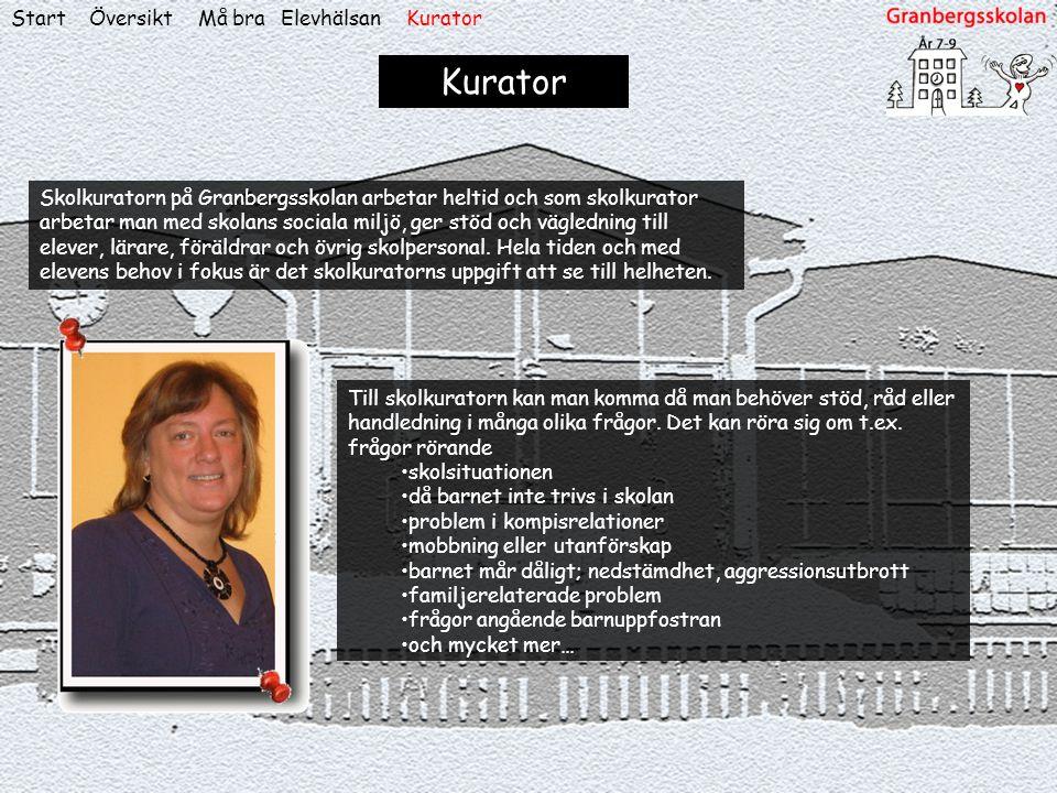 ÖversiktStart Kurator Skolkuratorn på Granbergsskolan arbetar heltid och som skolkurator arbetar man med skolans sociala miljö, ger stöd och väglednin
