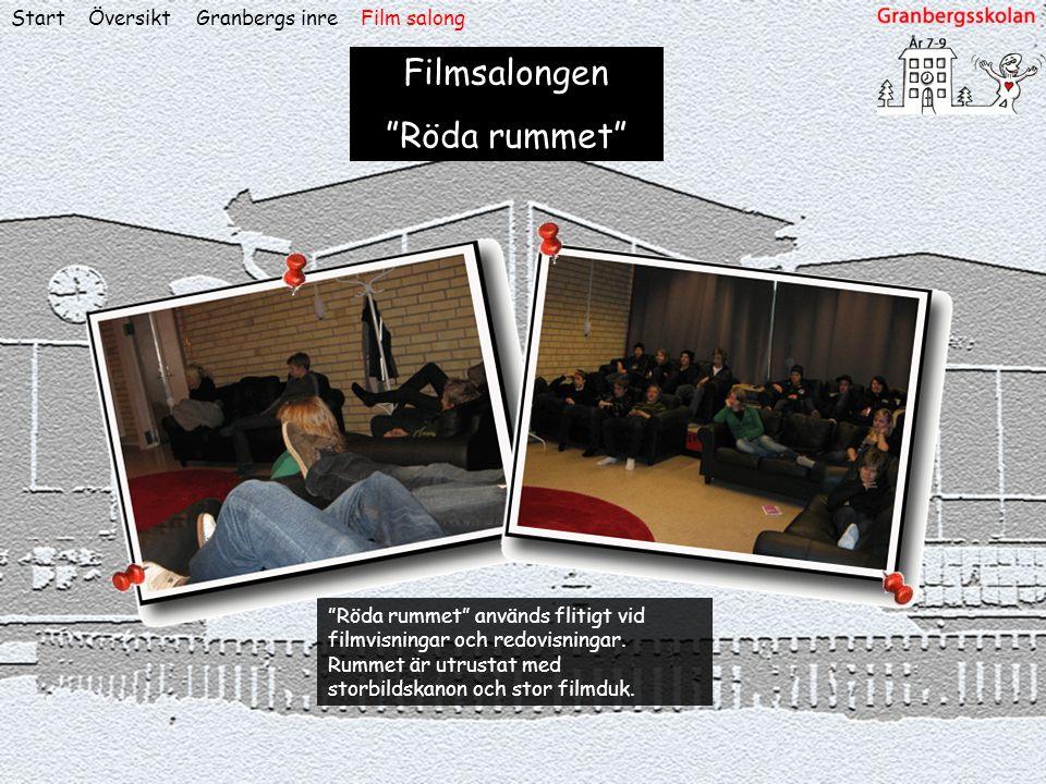 """ÖversiktStart Filmsalongen """"Röda rummet"""" """"Röda rummet"""" används flitigt vid filmvisningar och redovisningar. Rummet är utrustat med storbildskanon och"""