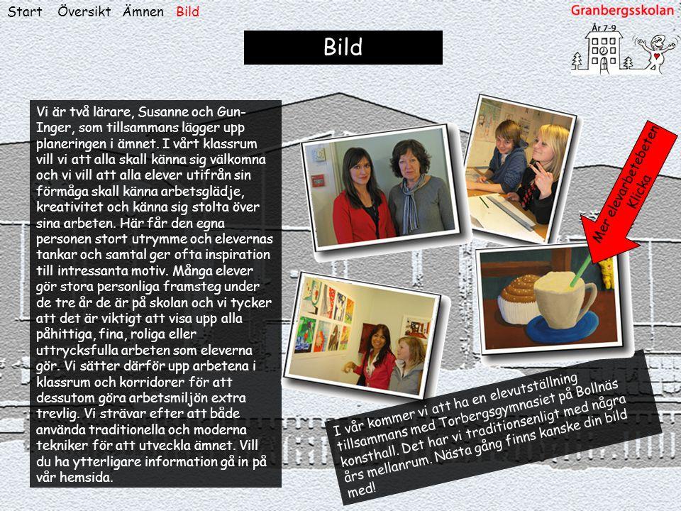 ÖversiktStart Bild Vi är två lärare, Susanne och Gun- Inger, som tillsammans lägger upp planeringen i ämnet. I vårt klassrum vill vi att alla skall kä