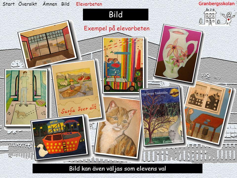 ÖversiktStart Bild Exempel på elevarbeten Bild kan även väljas som elevens val ÄmnenBildElevarbeten
