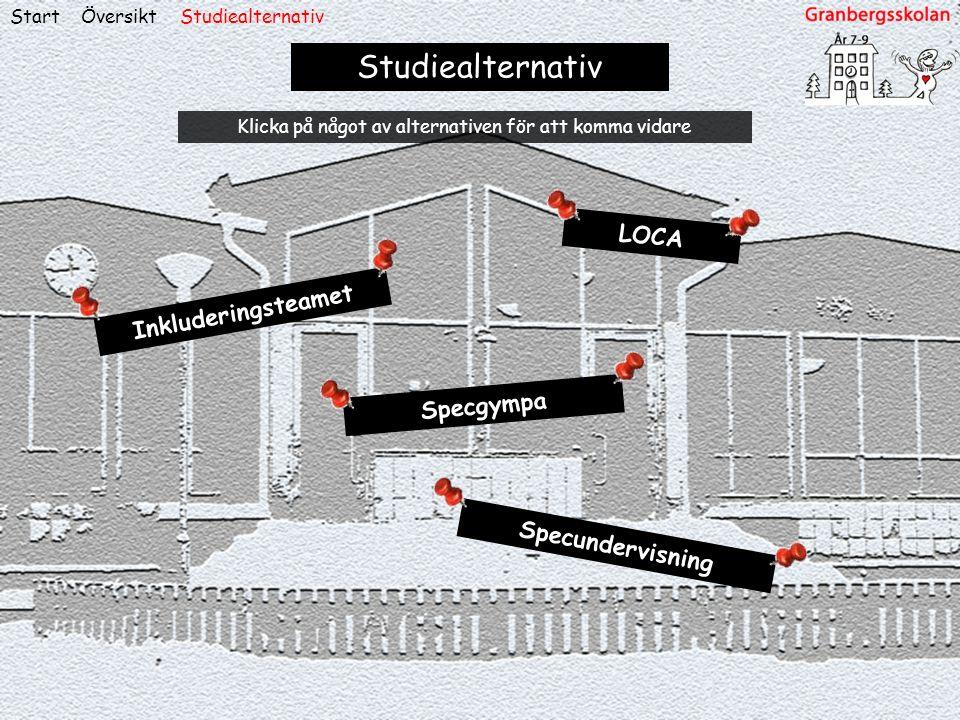 ÖversiktStart Studiealternativ LOCA Inkluderingsteamet Specgympa Specundervisning Studiealternativ Klicka på något av alternativen för att komma vidar