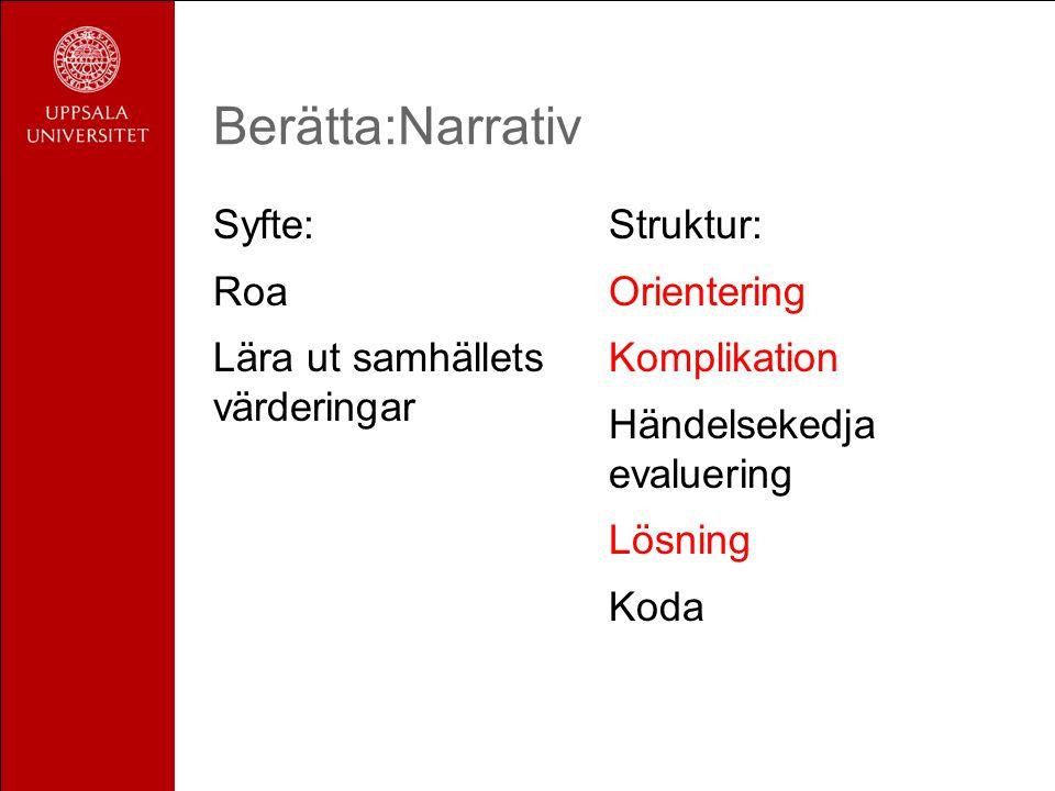 Berätta:Narrativ Syfte: Roa Lära ut samhällets värderingar Struktur: Orientering Komplikation Händelsekedja evaluering Lösning Koda