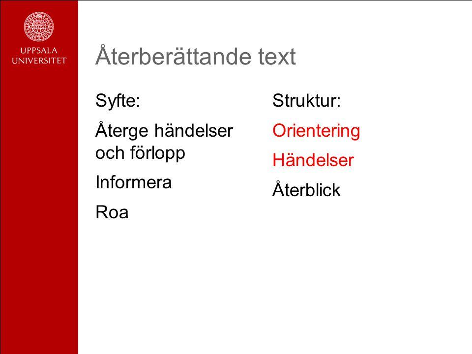 Återberättande text Syfte: Återge händelser och förlopp Informera Roa Struktur: Orientering Händelser Återblick