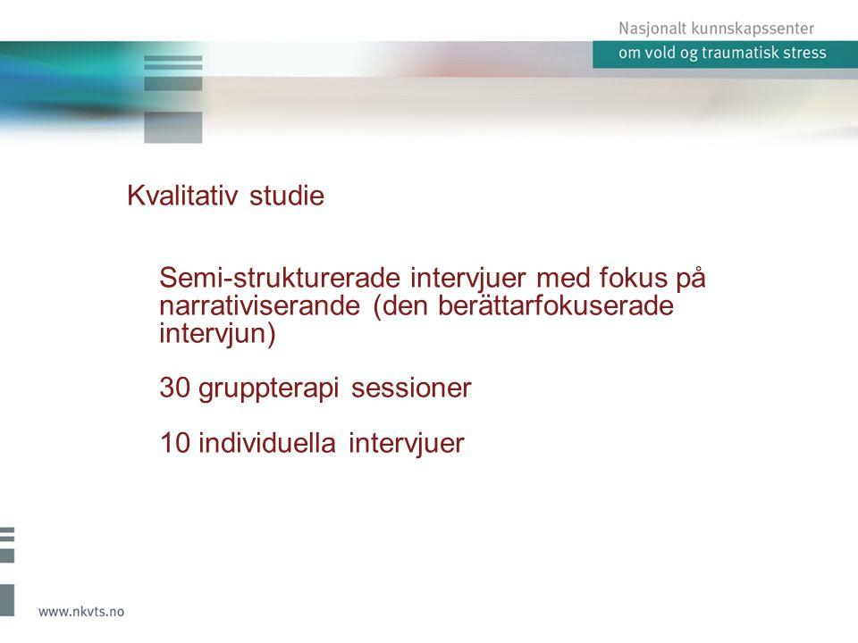 Kvalitativ studie Semi-strukturerade intervjuer med fokus på narrativiserande (den berättarfokuserade intervjun) 30 gruppterapi sessioner 10 individue