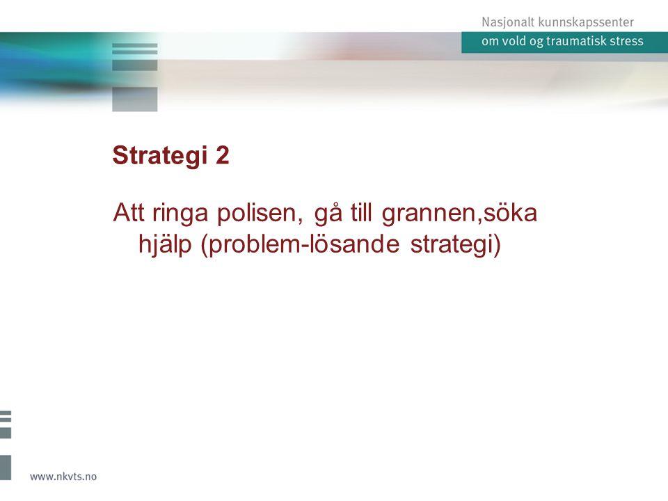 Strategi 2 Att ringa polisen, gå till grannen,söka hjälp (problem-lösande strategi)