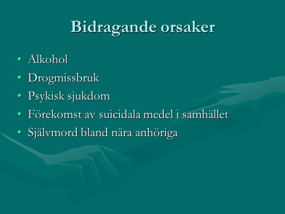 Bidragande orsaker •Alkohol •Drogmissbruk •Psykisk sjukdom •Förekomst av suicidala medel i samhället •Självmord bland nära anhöriga