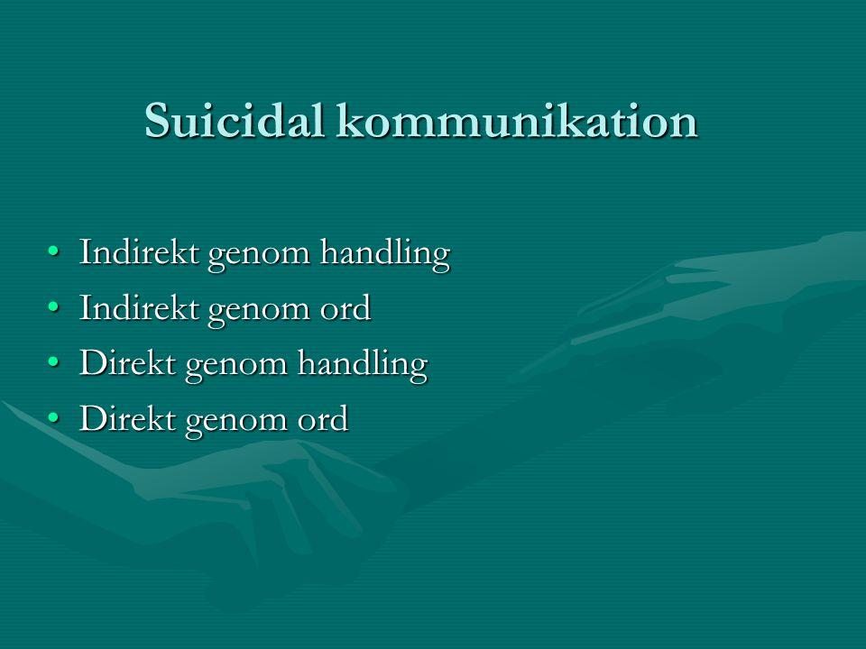 Suicidal kommunikation •Indirekt genom handling •Indirekt genom ord •Direkt genom handling •Direkt genom ord