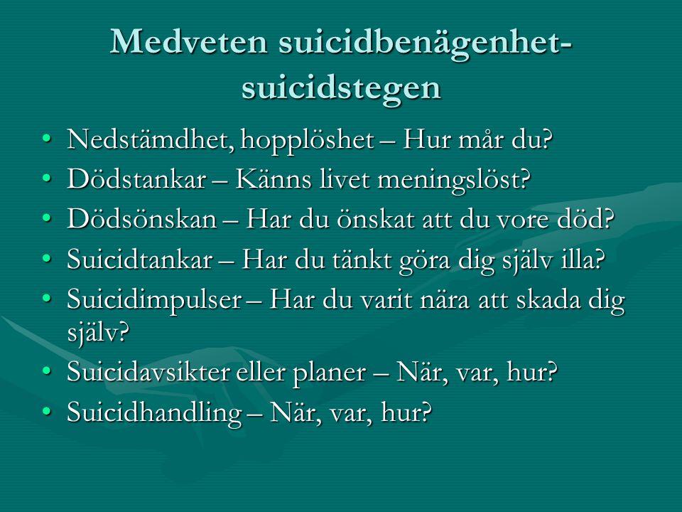 Medveten suicidbenägenhet- suicidstegen •Nedstämdhet, hopplöshet – Hur mår du? •Dödstankar – Känns livet meningslöst? •Dödsönskan – Har du önskat att
