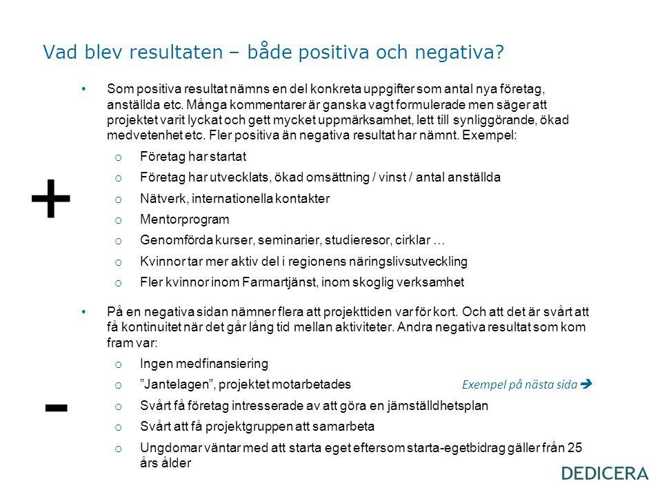 Vad blev resultaten – både positiva och negativa? •Som positiva resultat nämns en del konkreta uppgifter som antal nya företag, anställda etc. Många k