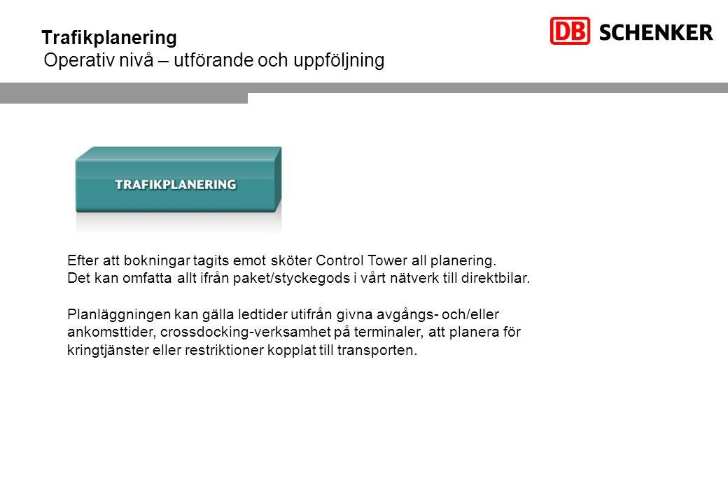 Trafikplanering Operativ nivå – utförande och uppföljning Efter att bokningar tagits emot sköter Control Tower all planering.