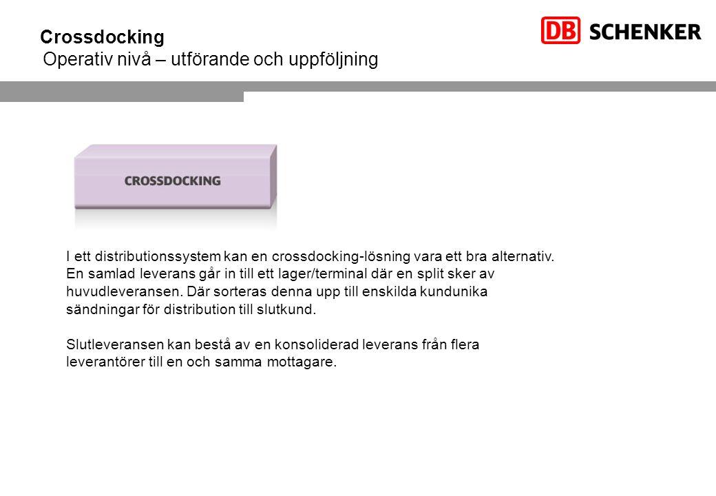 Crossdocking Operativ nivå – utförande och uppföljning I ett distributionssystem kan en crossdocking-lösning vara ett bra alternativ. En samlad levera