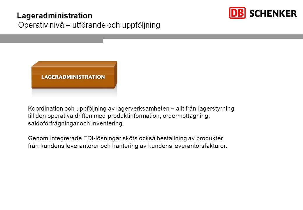 Lageradministration Operativ nivå – utförande och uppföljning Koordination och uppföljning av lagerverksamheten – allt från lagerstyrning till den operativa driften med produktinformation, ordermottagning, saldoförfrågningar och inventering.