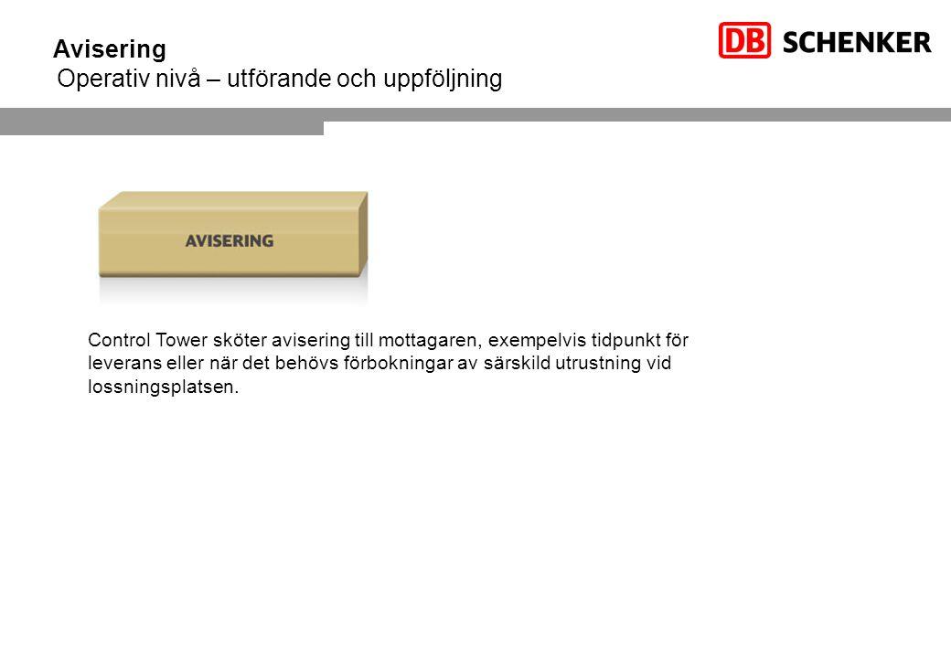 Avisering Operativ nivå – utförande och uppföljning Control Tower sköter avisering till mottagaren, exempelvis tidpunkt för leverans eller när det beh