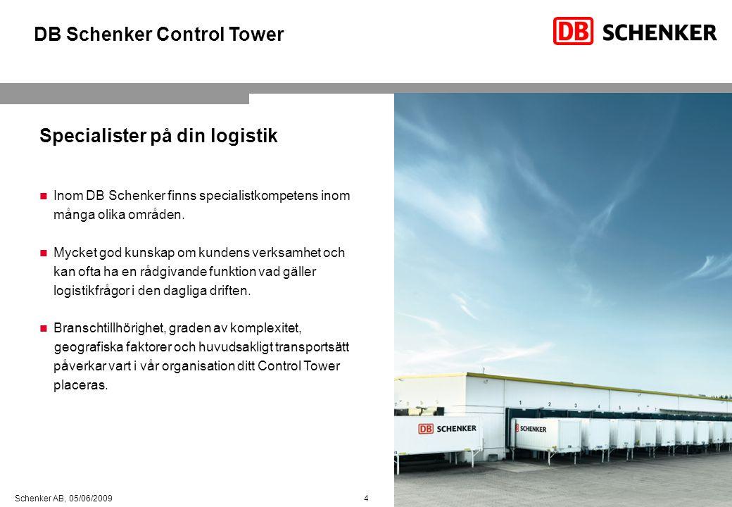 4 Schenker AB, 05/06/2009 Specialister på din logistik  Inom DB Schenker finns specialistkompetens inom många olika områden.  Mycket god kunskap om