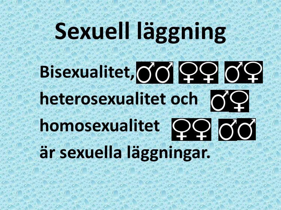 Sexuell läggning Bisexualitet, heterosexualitet och homosexualitet är sexuella läggningar.