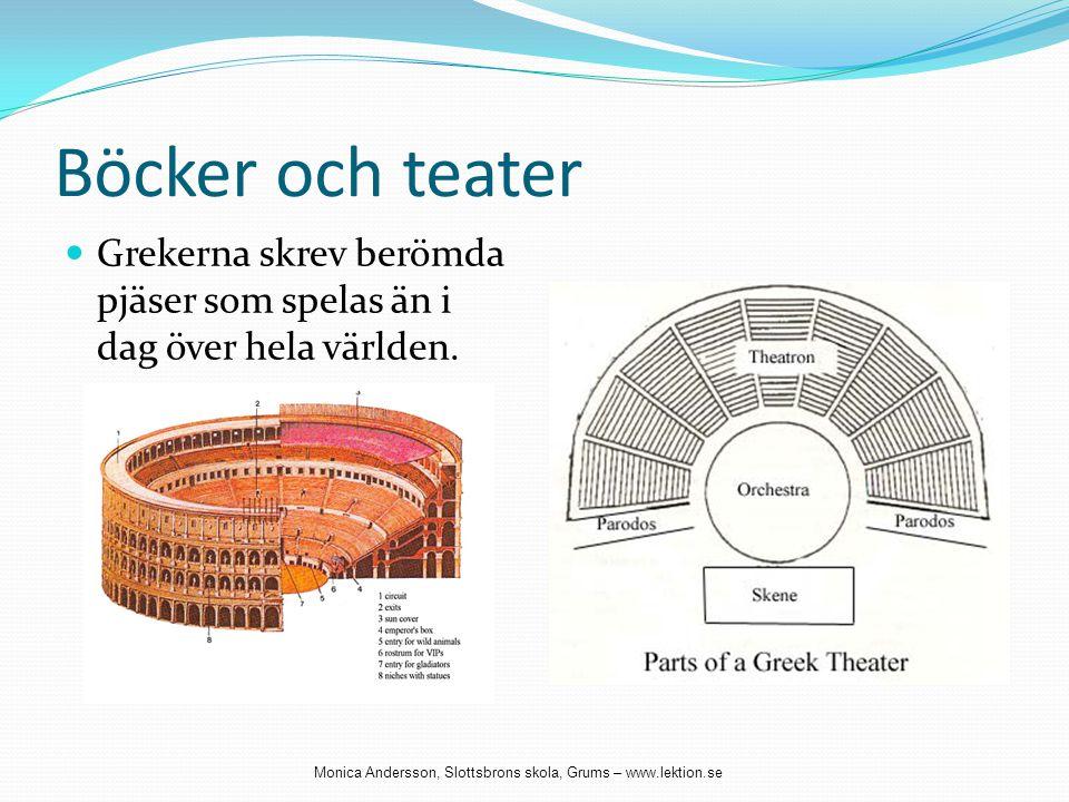 Böcker och teater  Grekerna skrev berömda pjäser som spelas än i dag över hela världen. Monica Andersson, Slottsbrons skola, Grums – www.lektion.se