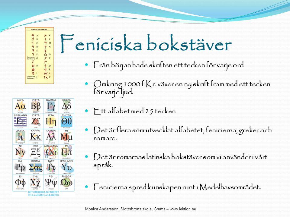 Feniciska bokstäver  Från början hade skriften ett tecken för varje ord  Omkring 1000 f.Kr. växer en ny skrift fram med ett tecken för varje ljud. 