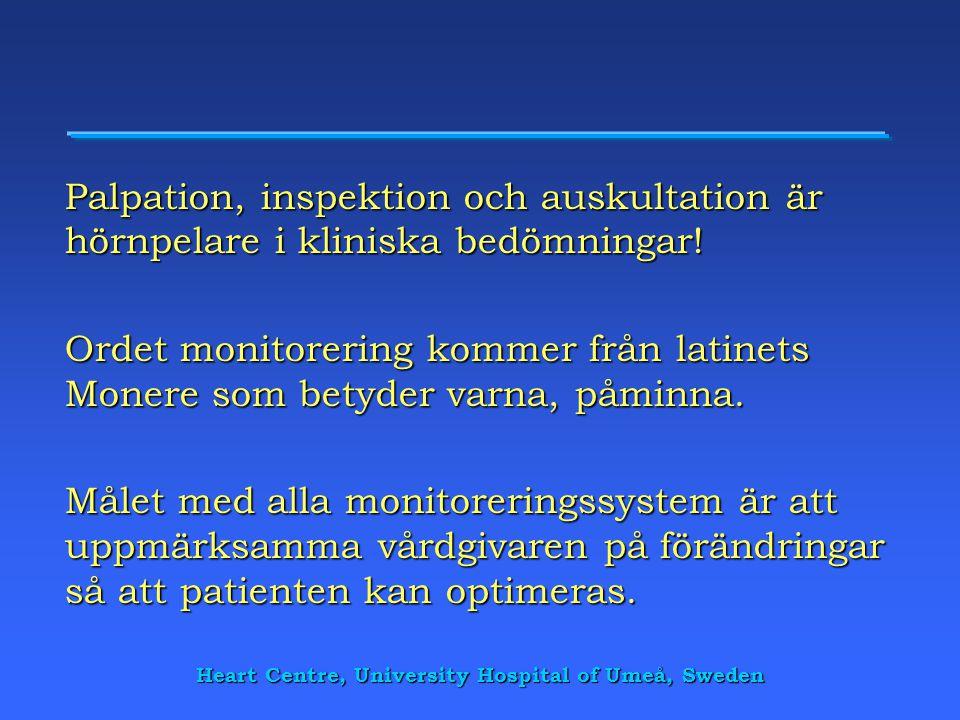 Heart Centre, University Hospital of Umeå, Sweden Palpation, inspektion och auskultation är hörnpelare i kliniska bedömningar! Ordet monitorering komm