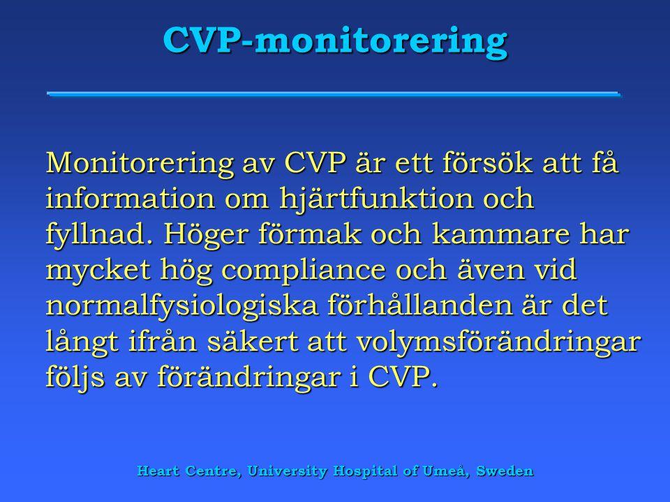CVP-monitorering Monitorering av CVP är ett försök att få information om hjärtfunktion och fyllnad. Höger förmak och kammare har mycket hög compliance