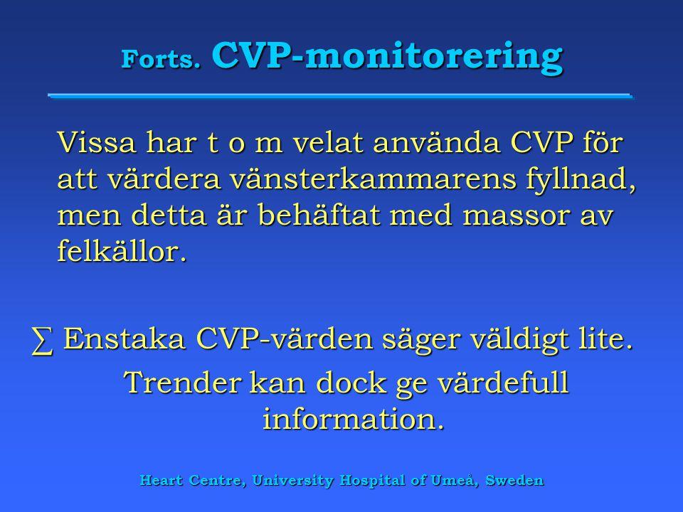 Heart Centre, University Hospital of Umeå, Sweden Forts. CVP-monitorering Vissa har t o m velat använda CVP för att värdera vänsterkammarens fyllnad,