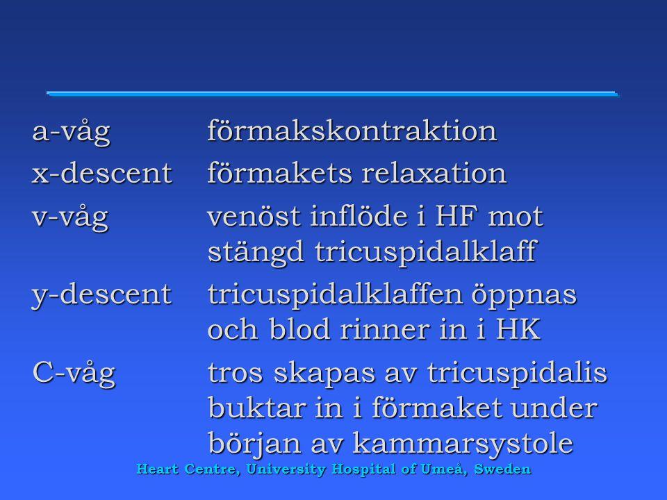 a-vågförmakskontraktion x-descentförmakets relaxation v-vågvenöst inflöde i HF mot stängd tricuspidalklaff y-descenttricuspidalklaffen öppnas och blod
